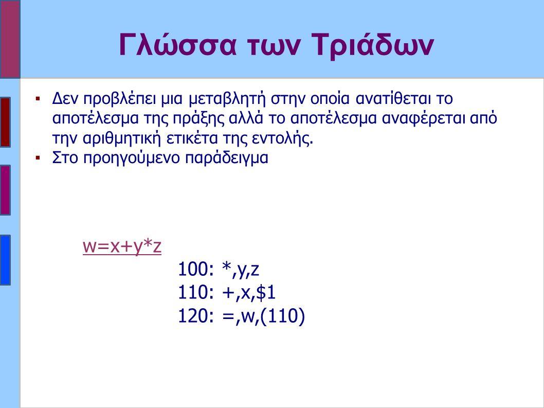 Γλώσσα των Τριάδων ▪Δεν προβλέπει μια μεταβλητή στην οποία ανατίθεται το αποτέλεσμα της πράξης αλλά το αποτέλεσμα αναφέρεται από την αριθμητική ετικέτα της εντολής.