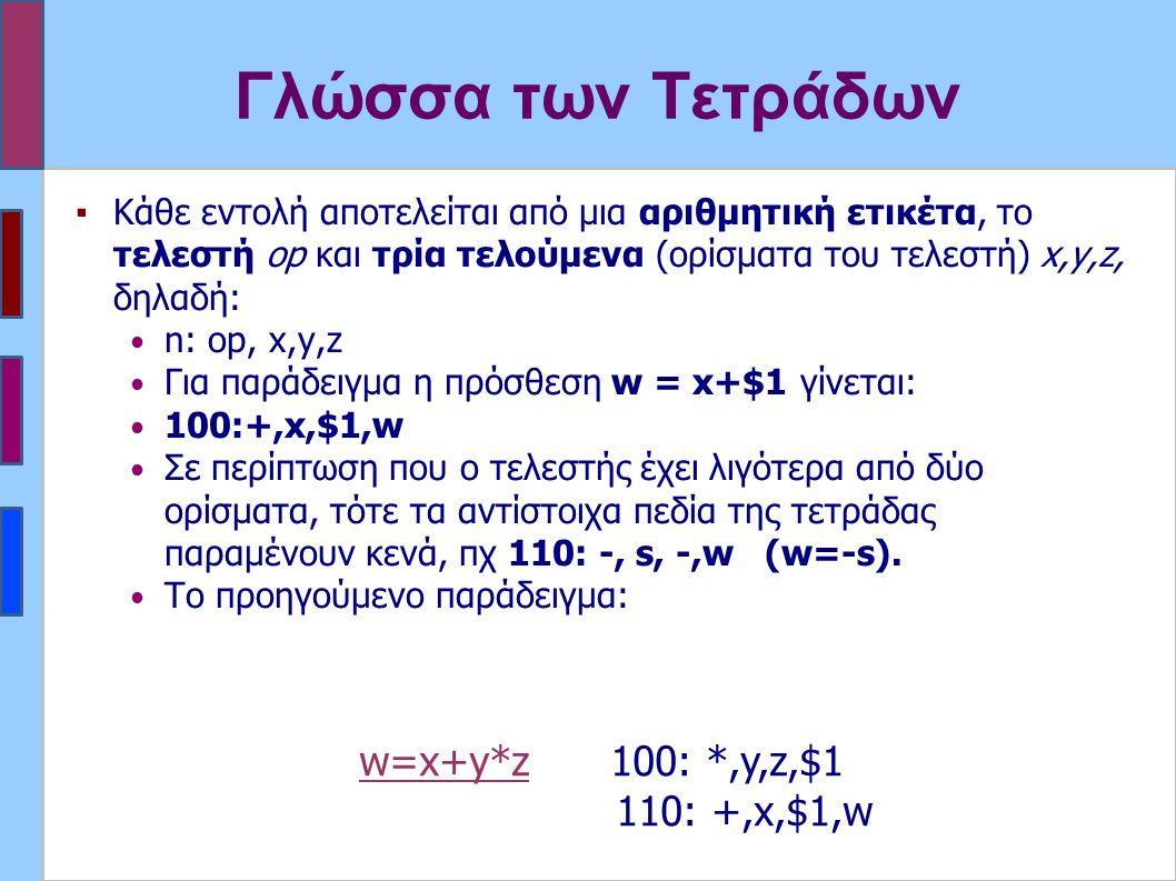 Γλώσσα των Τετράδων ▪Κάθε εντολή αποτελείται από μια αριθμητική ετικέτα, το τελεστή op και τρία τελούμενα (ορίσματα του τελεστή) x,y,z, δηλαδή: n: op, x,y,z Για παράδειγμα η πρόσθεση w = x+$1 γίνεται: 100:+,x,$1,w Σε περίπτωση που ο τελεστής έχει λιγότερα από δύο ορίσματα, τότε τα αντίστοιχα πεδία της τετράδας παραμένουν κενά, πχ 110: -, s, -,w (w=-s).