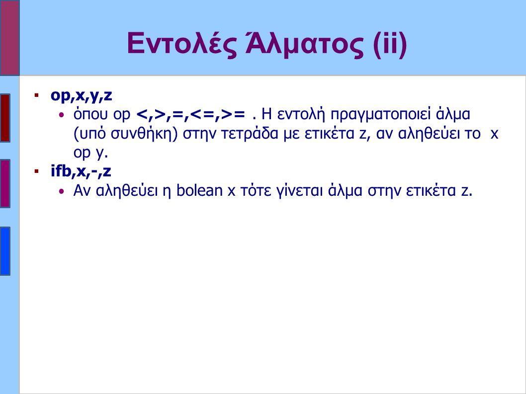 Εντολές Άλματος (ii) ▪op,x,y,z όπου op,=, =. Η εντολή πραγματοποιεί άλμα (υπό συνθήκη) στην τετράδα με ετικέτα z, αν αληθεύει το x op y. ▪ifb,x,-,z Αν