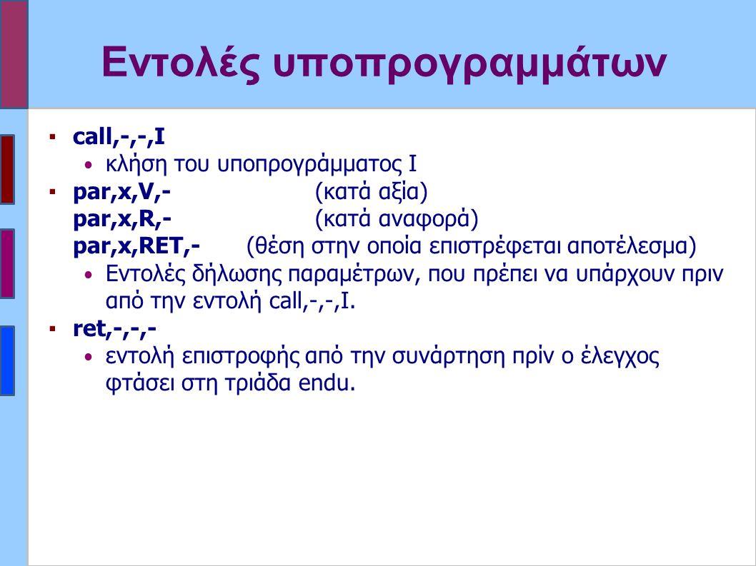 Εντολές υποπρογραμμάτων ▪call,-,-,I κλήση του υποπρογράμματος Ι ▪par,x,V,- (κατά αξία) par,x,R,-(κατά αναφορά) par,x,RET,- (θέση στην οποία επιστρέφεται αποτέλεσμα) Εντολές δήλωσης παραμέτρων, που πρέπει να υπάρχουν πριν από την εντολή call,-,-,I.