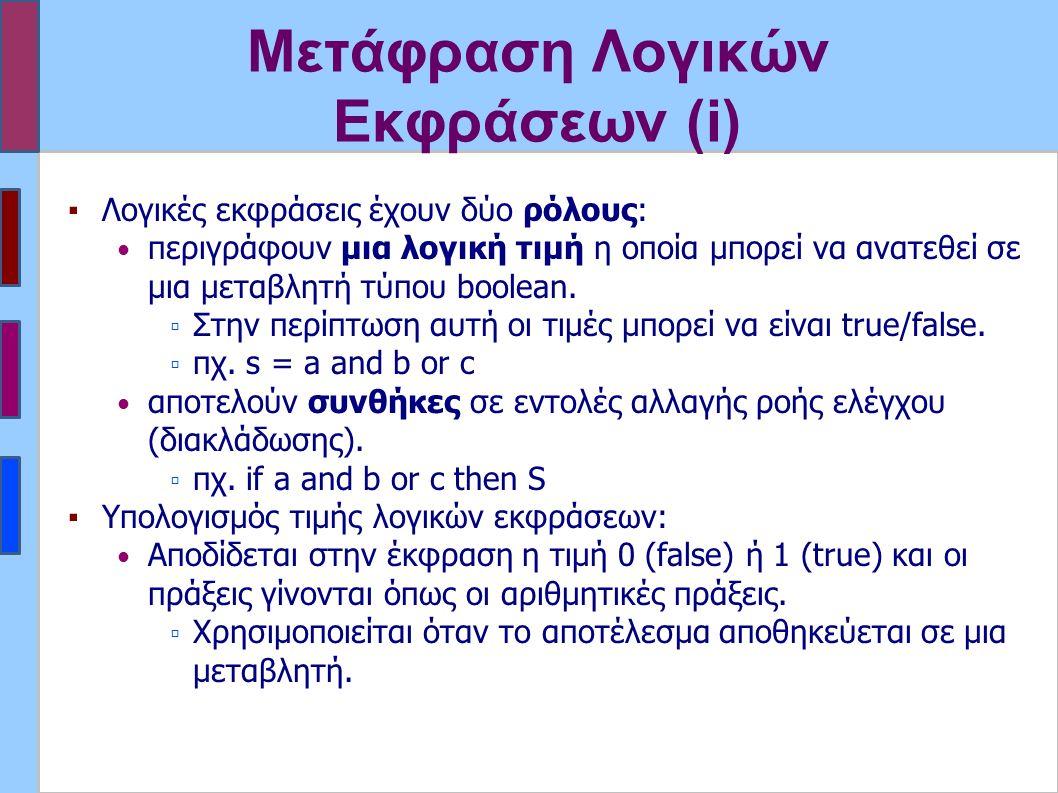Μετάφραση Λογικών Εκφράσεων (i) ▪Λογικές εκφράσεις έχουν δύο ρόλους: περιγράφουν μια λογική τιμή η οποία μπορεί να ανατεθεί σε μια μεταβλητή τύπου boo