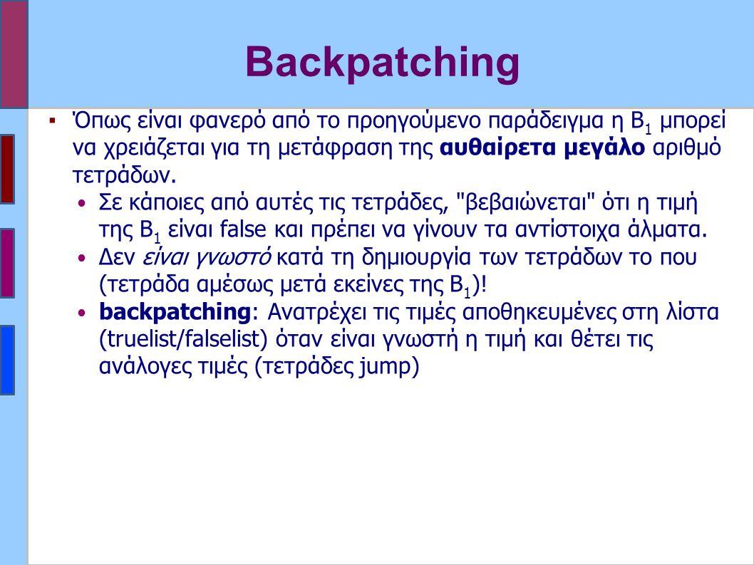 Backpatching ▪Όπως είναι φανερό από το προηγούμενο παράδειγμα η Β 1 μπορεί να χρειάζεται για τη μετάφραση της αυθαίρετα μεγάλο αριθμό τετράδων.