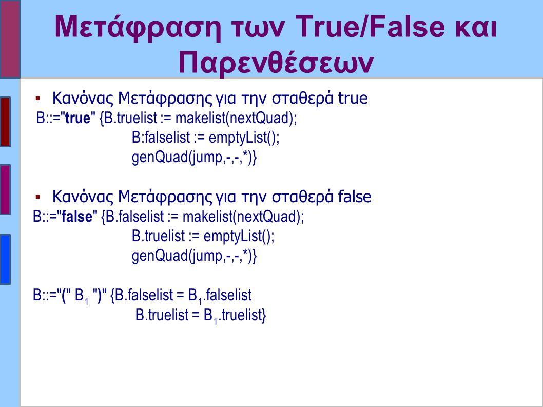Μετάφραση των True/False και Παρενθέσεων ▪Kανόνας Μετάφρασης για την σταθερά true B::= true {B.truelist := makelist(nextQuad); B:falselist := emptyList(); genQuad(jump,-,-,*)} ▪Kανόνας Μετάφρασης για την σταθερά false B::= false {B.falselist := makelist(nextQuad); B.truelist := emptyList(); genQuad(jump,-,-,*)} Β::= ( Β 1 ) {B.falselist = B 1.falselist B.truelist = B 1.truelist}