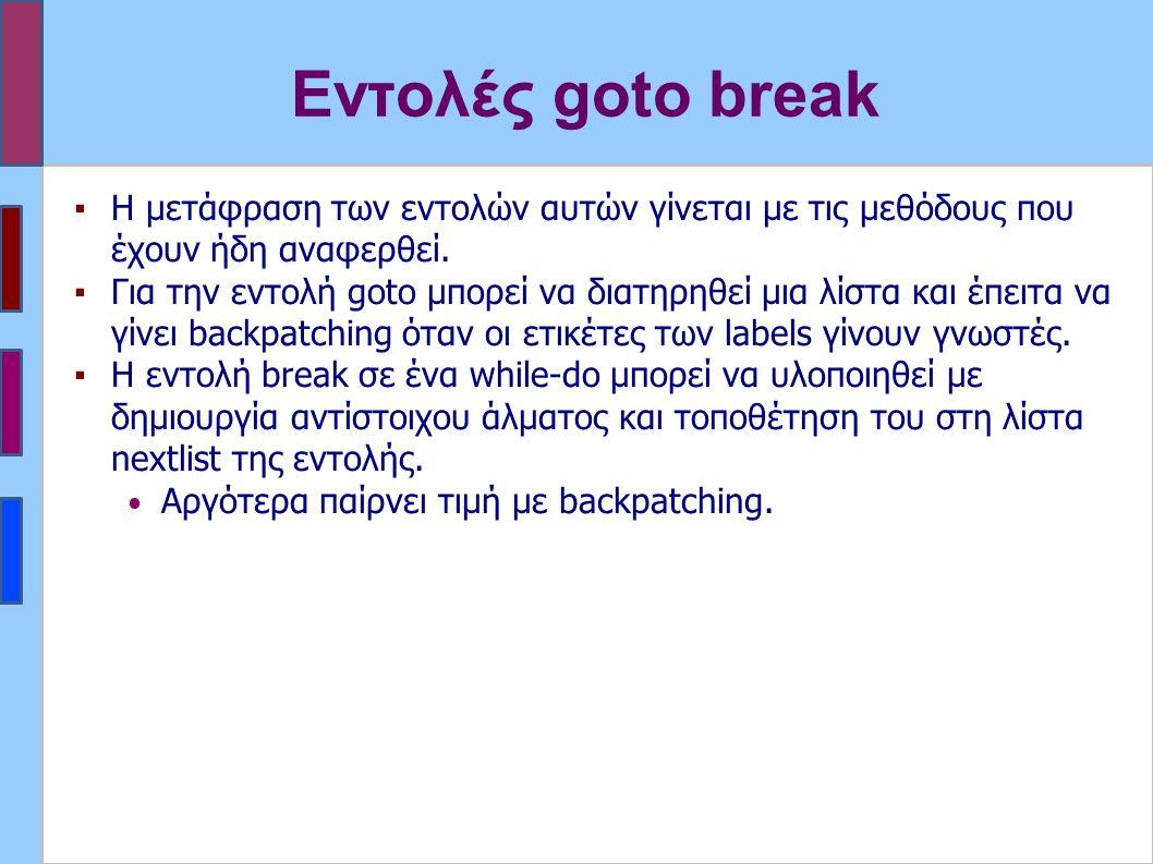 Εντολές goto break ▪Η μετάφραση των εντολών αυτών γίνεται με τις μεθόδους που έχουν ήδη αναφερθεί. ▪Για την εντολή goto μπορεί να διατηρηθεί μια λίστα