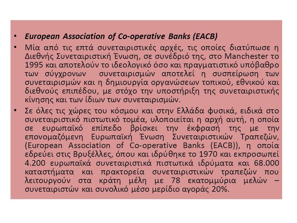 European Association of Co-operative Banks (EACB) Μία από τις επτά συνεταιριστικές αρχές, τις οποίες διατύπωσε η Διεθνής Συνεταιριστική Ένωση, σε συνέδριό της, στο Manchester το 1995 και αποτελούν το ιδεολογικό όσο και πραγματιστικό υπόβαθρο των σύγχρονων συνεταιρισμών αποτελεί η συσπείρωση των συνεταιρισμών και η δημιουργία οργανώσεων τοπικού, εθνικού και διεθνούς επιπέδου, με στόχο την υποστήριξη της συνεταιριστικής κίνησης και των ίδιων των συνεταιρισμών.