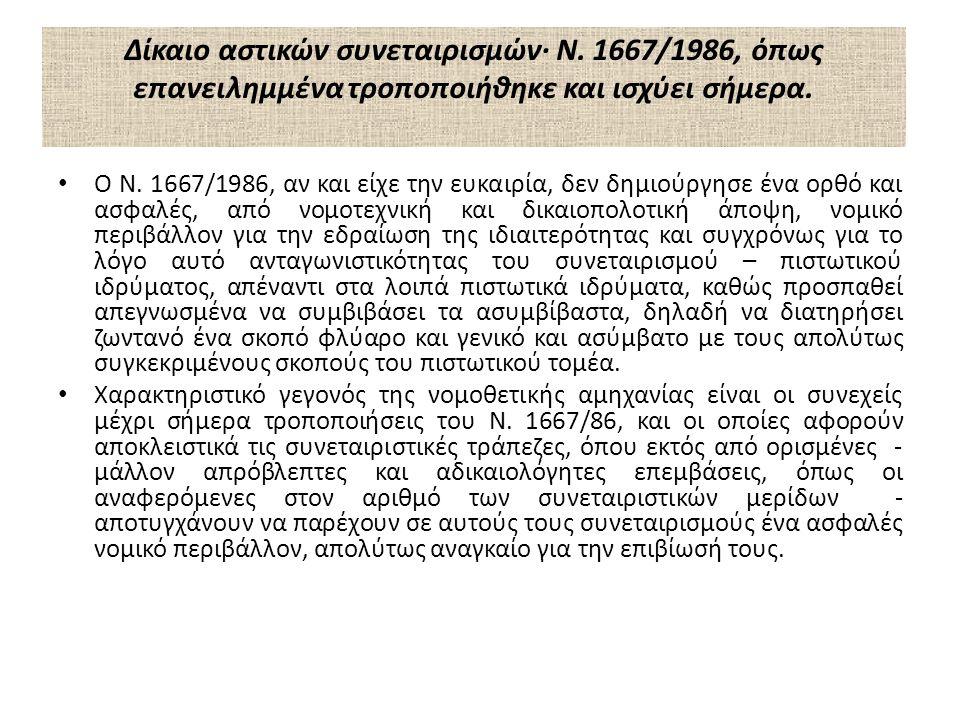 Δίκαιο αστικών συνεταιρισμών· Ν.1667/1986, όπως επανειλημμένα τροποποιήθηκε και ισχύει σήμερα.