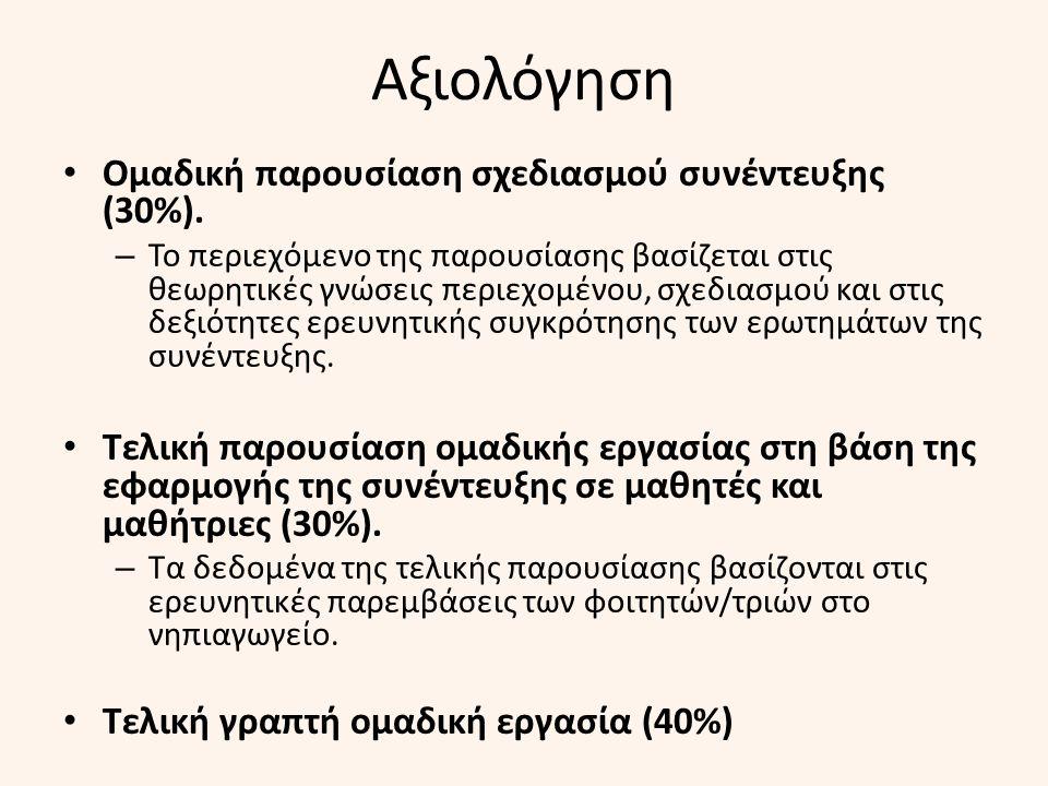 Αξιολόγηση Ομαδική παρουσίαση σχεδιασμού συνέντευξης (30%).