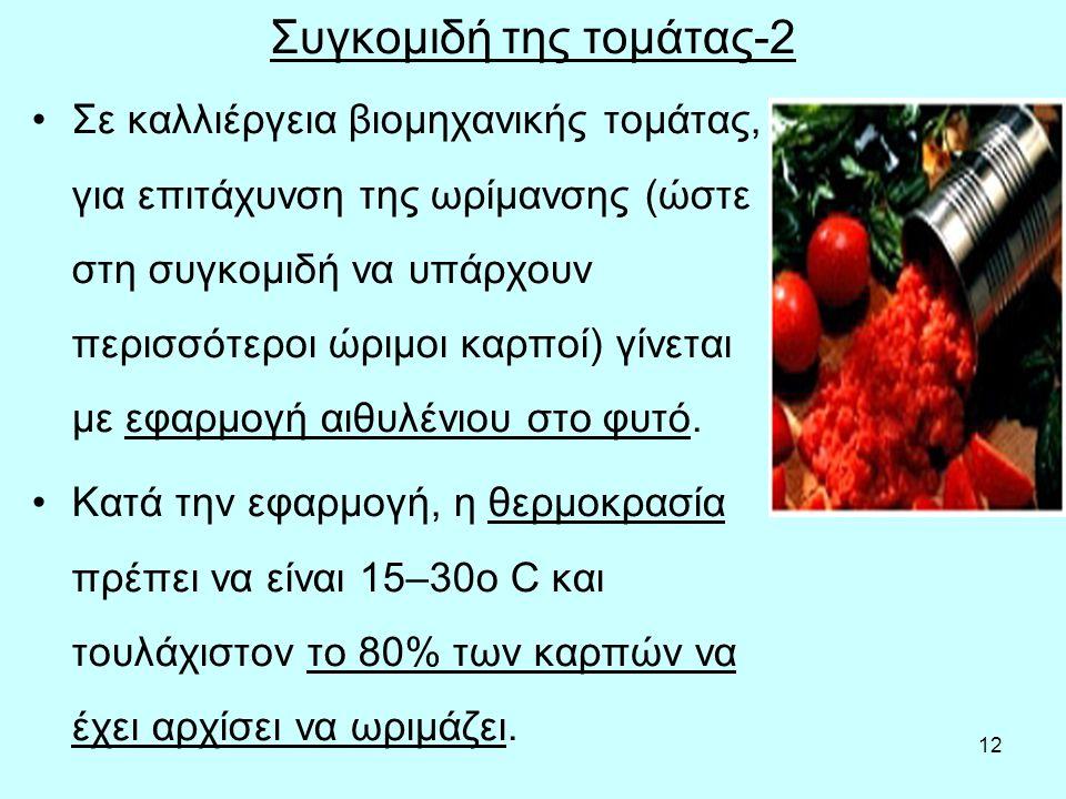 12 Συγκομιδή της τομάτας-2 Σε καλλιέργεια βιομηχανικής τομάτας, για επιτάχυνση της ωρίμανσης (ώστε στη συγκομιδή να υπάρχουν περισσότεροι ώριμοι καρποί) γίνεται με εφαρμογή αιθυλένιου στο φυτό.