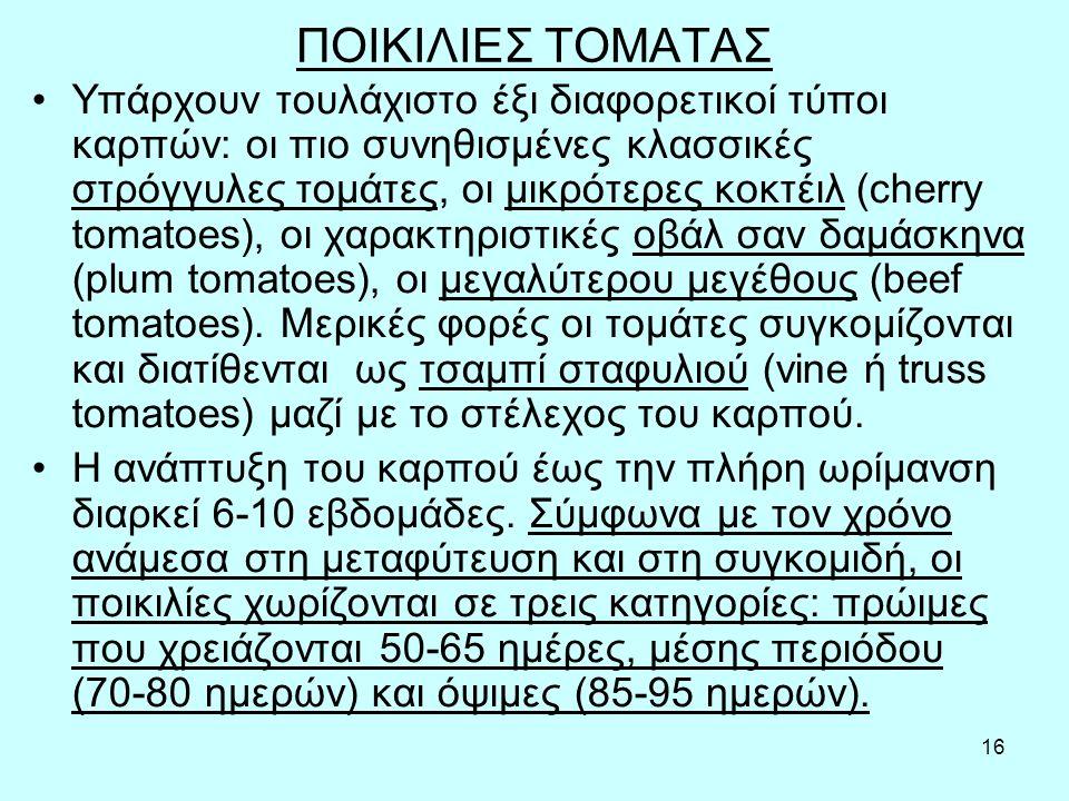 16 ΠΟΙΚΙΛΙΕΣ ΤΟΜΑΤΑΣ Υπάρχουν τουλάχιστο έξι διαφορετικοί τύποι καρπών: οι πιο συνηθισμένες κλασσικές στρόγγυλες τομάτες, οι μικρότερες κοκτέιλ (cherry tomatoes), οι χαρακτηριστικές οβάλ σαν δαμάσκηνα (plum tomatoes), οι μεγαλύτερου μεγέθους (beef tomatoes).