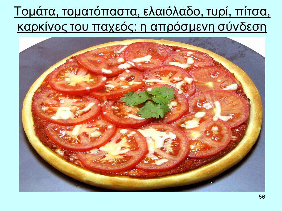 56 Τομάτα, τοματόπαστα, ελαιόλαδο, τυρί, πίτσα, καρκίνος του παχεός: η απρόσμενη σύνδεση