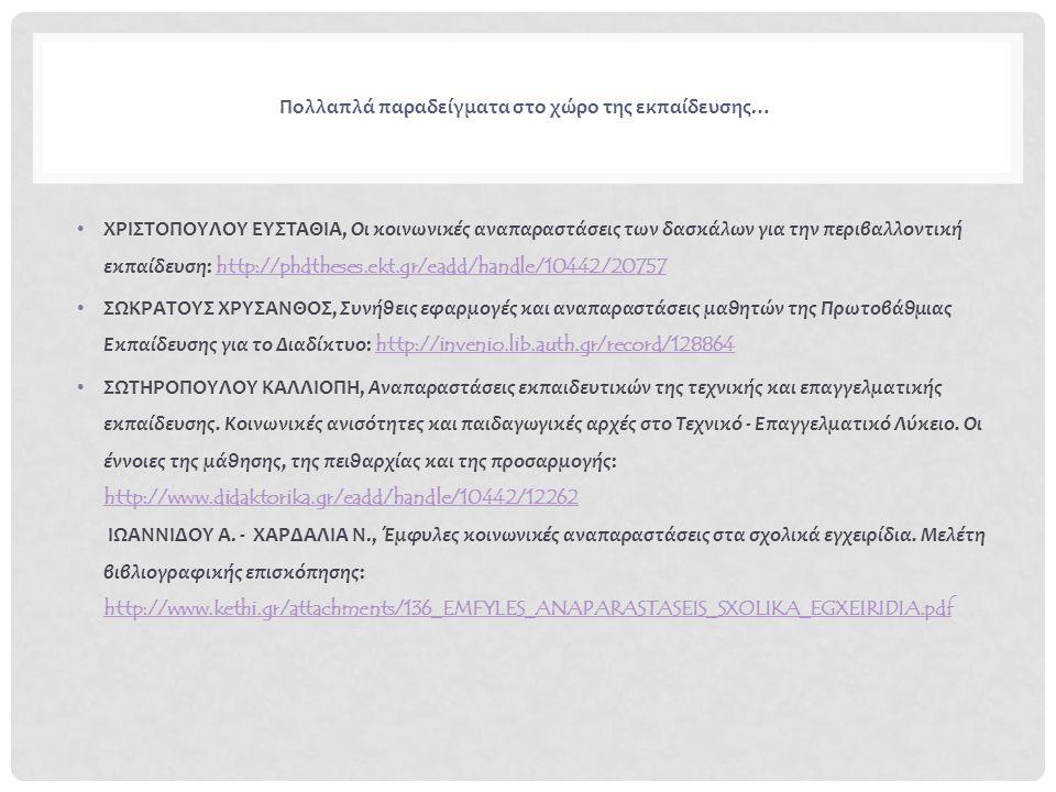 Πολλαπλά παραδείγματα στο χώρο της εκπαίδευσης… ΧΡΙΣΤΟΠΟΥΛΟΥ ΕΥΣΤΑΘΙΑ, Οι κοινωνικές αναπαραστάσεις των δασκάλων για την περιβαλλοντική εκπαίδευση: http://phdtheses.ekt.gr/eadd/handle/10442/20757 http://phdtheses.ekt.gr/eadd/handle/10442/20757 ΣΩΚΡΑΤΟΥΣ ΧΡΥΣΑΝΘΟΣ, Συνήθεις εφαρμογές και αναπαραστάσεις μαθητών της Πρωτοβάθμιας Εκπαίδευσης για το Διαδίκτυο: http://invenio.lib.auth.gr/record/128864 http://invenio.lib.auth.gr/record/128864 ΣΩΤΗΡΟΠΟΥΛΟΥ ΚΑΛΛΙΟΠΗ, Αναπαραστάσεις εκπαιδευτικών της τεχνικής και επαγγελματικής εκπαίδευσης.