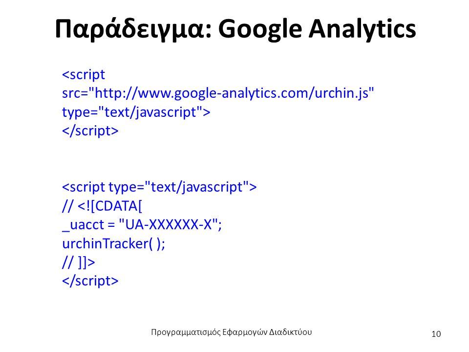 Παράδειγμα: Google Analytics <script src= http://www.google-analytics.com/urchin.js type= text/javascript > // <![CDATA[ _uacct = UA-XXXXXX-X ; urchinTracker( ); // ]]> Προγραμματισμός Εφαρμογών Διαδικτύου 10