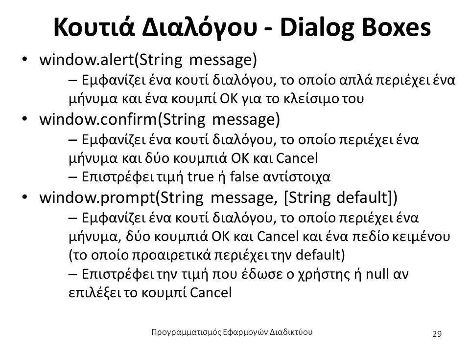 Κουτιά Διαλόγου - Dialog Boxes window.alert(String message) – Εμφανίζει ένα κουτί διαλόγου, το οποίο απλά περιέχει ένα μήνυμα και ένα κουμπί ΟΚ για το
