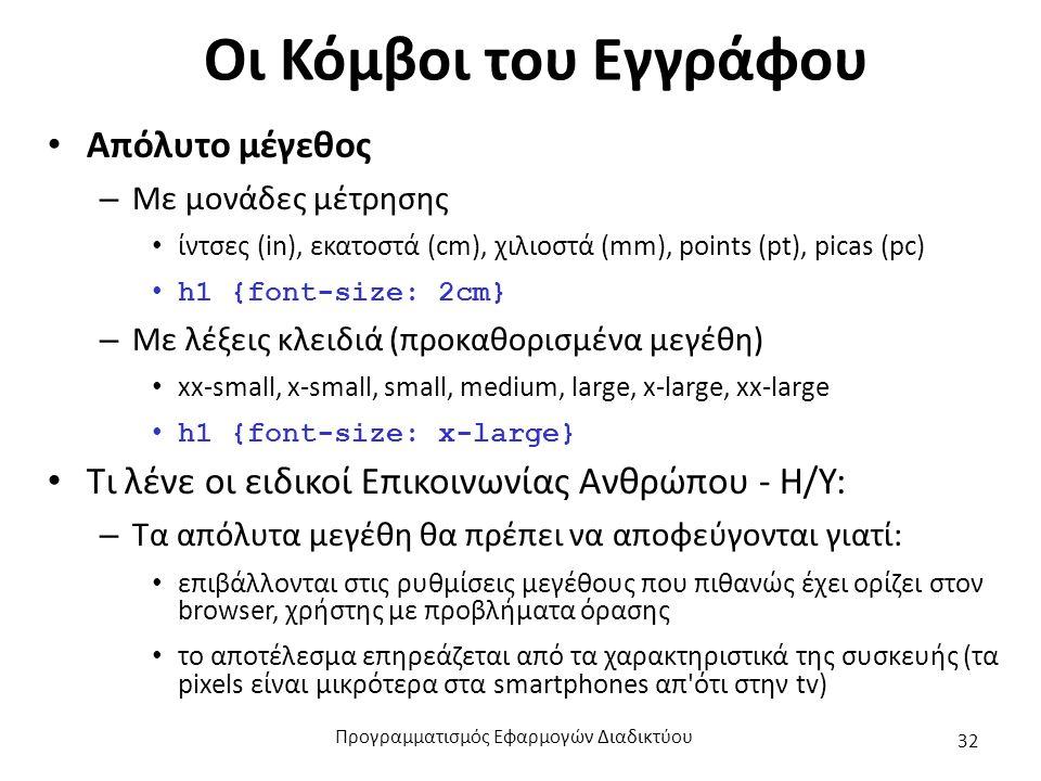 Οι Κόμβοι του Εγγράφου Απόλυτο μέγεθος – Με μονάδες μέτρησης ίντσες (in), εκατοστά (cm), χιλιοστά (mm), points (pt), picas (pc) h1 {font-size: 2cm} –