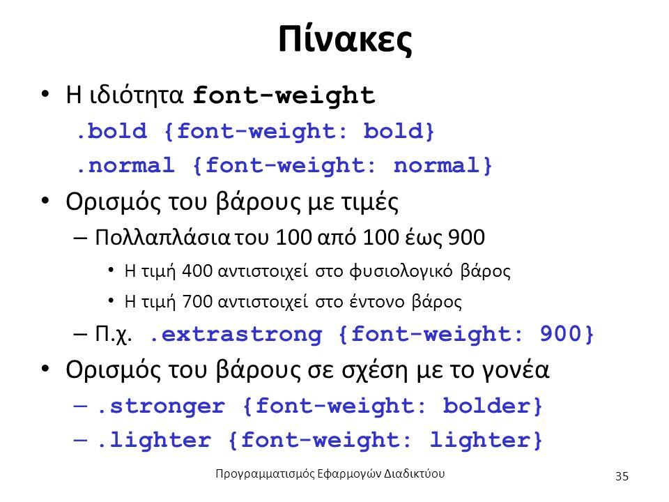 Πίνακες H ιδιότητα font-weight.bold {font-weight: bold}.normal {font-weight: normal} Ορισμός του βάρους με τιμές – Πολλαπλάσια του 100 από 100 έως 900