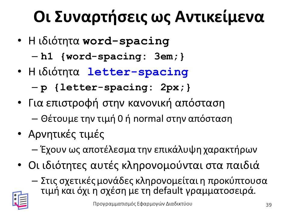 Οι Συναρτήσεις ως Αντικείμενα H ιδιότητα word-spacing – h1 {word-spacing: 3em;} Η ιδιότητα letter-spacing – p {letter-spacing: 2px;} Για επιστροφή στη