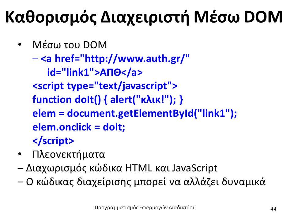 Καθορισμός Διαχειριστή Mέσω DOM Μέσω του DOM – ΑΠΘ function doIt() { alert(