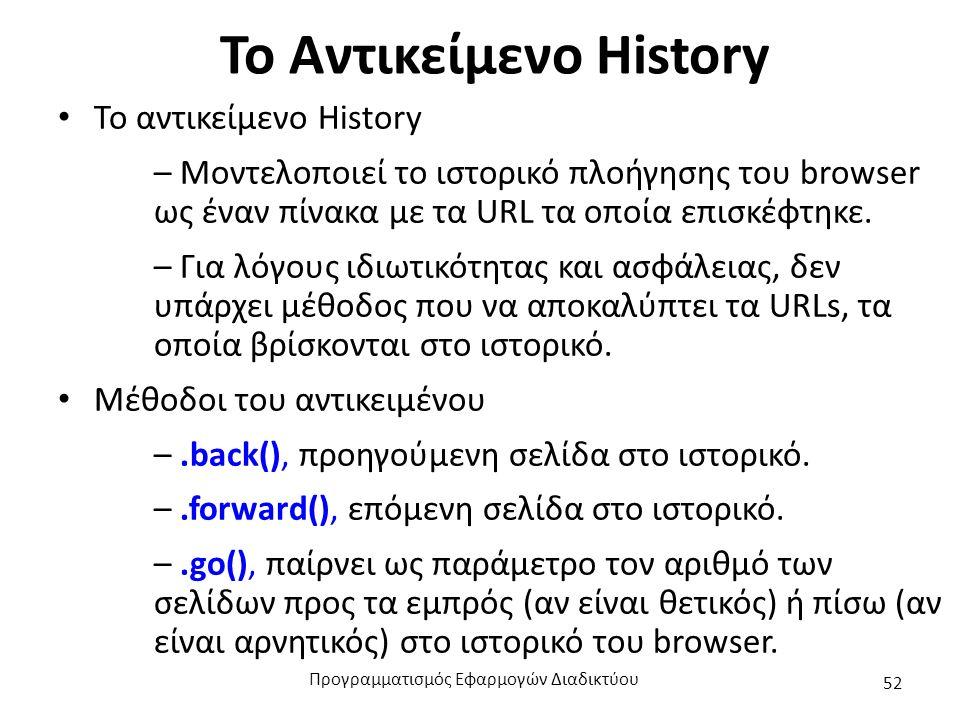 Το Αντικείμενο History Το αντικείμενο History – Μοντελοποιεί το ιστορικό πλοήγησης του browser ως έναν πίνακα με τα URL τα οποία επισκέφτηκε. – Για λό