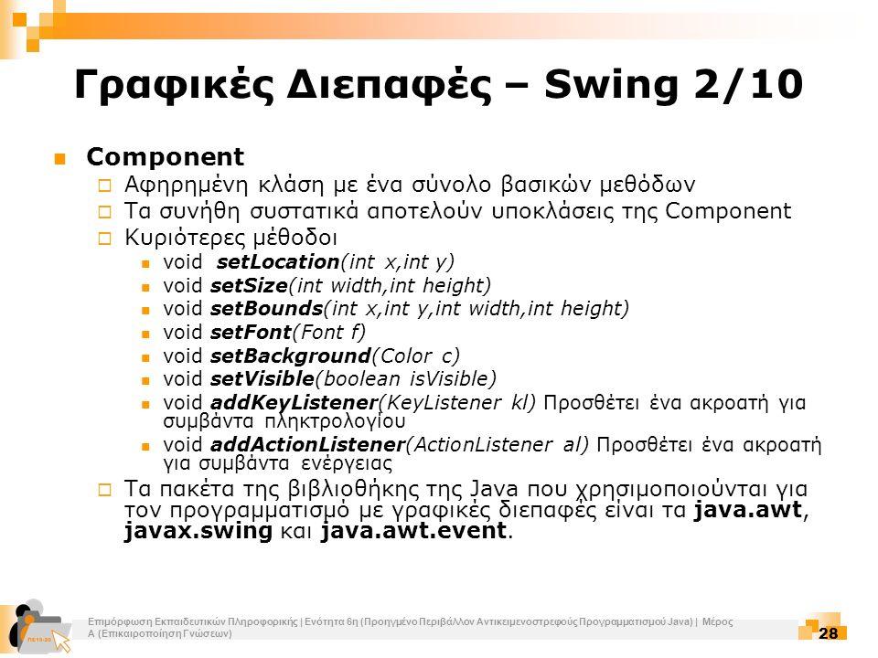 Επιμόρφωση Εκπαιδευτικών Πληροφορικής | Ενότητα 6η (Προηγμένο Περιβάλλον Αντικειμενοστρεφούς Προγραμματισμού Java) | Μέρος Α (Επικαιροποίηση Γνώσεων) 28 Γραφικές Διεπαφές – Swing 2/10 Component  Αφηρημένη κλάση με ένα σύνολο βασικών μεθόδων  Τα συνήθη συστατικά αποτελούν υποκλάσεις της Component  Κυριότερες μέθοδοι void setLocation(int x,int y) void setSize(int width,int height) void setBounds(int x,int y,int width,int height) void setFont(Font f) void setBackground(Color c) void setVisible(boolean isVisible) void addKeyListener(KeyListener kl) Προσθέτει ένα ακροατή για συμβάντα πληκτρολογίου void addActionListener(ActionListener al) Προσθέτει ένα ακροατή για συμβάντα ενέργειας  Τα πακέτα της βιβλιοθήκης της Java που χρησιμοποιούνται για τον προγραμματισμό με γραφικές διεπαφές είναι τα java.awt, javax.swing και java.awt.event.