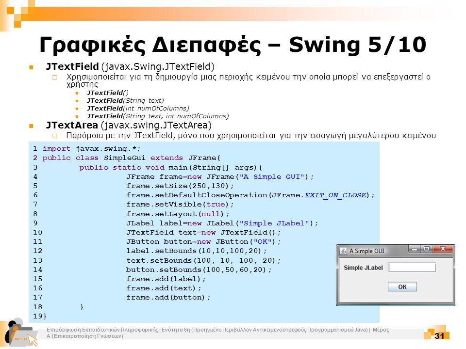 Επιμόρφωση Εκπαιδευτικών Πληροφορικής | Ενότητα 6η (Προηγμένο Περιβάλλον Αντικειμενοστρεφούς Προγραμματισμού Java) | Μέρος Α (Επικαιροποίηση Γνώσεων) 31 Γραφικές Διεπαφές – Swing 5/10 JTextField (javax.Swing.JTextField)  Χρησιμοποιείται για τη δημιουργία μιας περιοχής κειμένου την οποία μπορεί να επεξεργαστεί ο χρήστης JTextField() JTextField(String text) JTextField(int numOfColumns) JTextField(String text, int numOfColumns) JTextArea (javax.swing.JTextArea)  Παρόμοια με την JTextField, μόνο που χρησιμοποιείται για την εισαγωγή μεγαλύτερου κειμένου 1 import javax.swing.*; 2 public class SimpleGui extends JFrame{ 3public static void main(String[] args){ 4JFrame frame=new JFrame( A Simple GUI ); 5frame.setSize(250,130); 6frame.setDefaultCloseOperation(JFrame.EXIT_ON_CLOSE); 7frame.setVisible(true); 8frame.setLayout(null); 9JLabel label=new JLabel( Simple JLabel ); 10JTextField text=new JTextField(); 11JButton button=new JButton( OK ); 12label.setBounds(10,10,100,20); 13text.setBounds(100, 10, 100, 20); 14button.setBounds(100,50,60,20); 15frame.add(label); 16frame.add(text); 17frame.add(button); 18} 19}