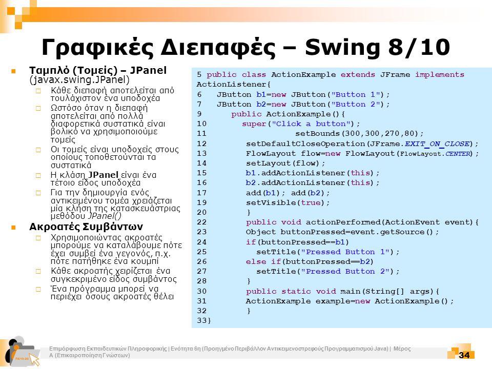 Επιμόρφωση Εκπαιδευτικών Πληροφορικής | Ενότητα 6η (Προηγμένο Περιβάλλον Αντικειμενοστρεφούς Προγραμματισμού Java) | Μέρος Α (Επικαιροποίηση Γνώσεων) 34 Γραφικές Διεπαφές – Swing 8/10 Ταμπλό (Τομείς) – JPanel (javax.swing.JPanel)  Κάθε διεπαφή αποτελείται από τουλάχιστον ένα υποδοχέα  Ωστόσο όταν η διεπαφή αποτελείται από πολλά διαφορετικά συστατικά είναι βολικό να χρησιμοποιούμε τομείς  Οι τομείς είναι υποδοχείς στους οποίους τοποθετούνται τα συστατικά  Η κλάση JPanel είναι ένα τέτοιο είδος υποδοχέα  Για την δημιουργία ενός αντικειμένου τομέα χρειάζεται μία κλήση της κατασκευάστριας μεθόδου JPanel() Ακροατές Συμβάντων  Χρησιμοποιώντας ακροατές μπορούμε να καταλάβουμε πότε έχει συμβεί ένα γεγονός, π.χ.
