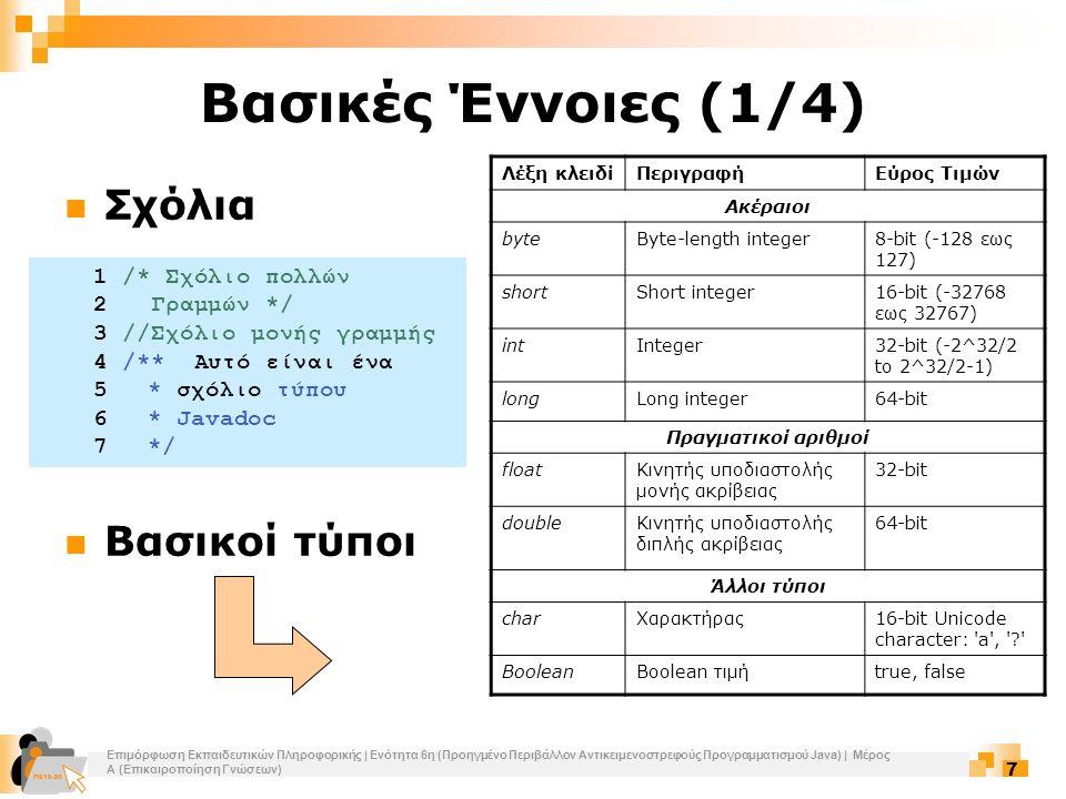 Επιμόρφωση Εκπαιδευτικών Πληροφορικής | Ενότητα 6η (Προηγμένο Περιβάλλον Αντικειμενοστρεφούς Προγραμματισμού Java) | Μέρος Α (Επικαιροποίηση Γνώσεων) 7 Βασικές Έννοιες (1/4) Σχόλια Βασικοί τύποι Λέξη κλειδίΠεριγραφήΕύρος Τιμών Ακέραιοι byteByte-length integer8-bit (-128 εως 127) shortShort integer16-bit (-32768 εως 32767) intInteger32-bit (-2^32/2 to 2^32/2-1) longLong integer64-bit Πραγματικοί αριθμοί floatΚινητής υποδιαστολής μονής ακρίβειας 32-bit doubleΚινητής υποδιαστολής διπλής ακρίβειας 64-bit Άλλοι τύποι charΧαρακτήρας16-bit Unicode character: a , ? BooleanBoolean τιμήtrue, false 1 /* Σχόλιο πολλών 2 Γραμμών */ 3 //Σχόλιο μονής γραμμής 4 /** Αυτό είναι ένα 5 * σχόλιο τύπου 6 * Javadoc 7 */