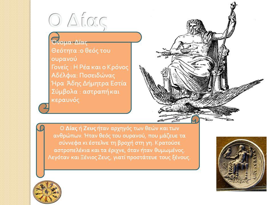 Όνομα : Δίας Θεότητα : ο θεός του ουρανού Γονείς : Η Ρέα και ο Κρόνος Αδέλφια : Ποσειδώνας Ήρα Άδης Δήμητρα Εστία Σύμβολα : αστρα π ή και κεραυνός Ο Δίας ή Ζευς ήταν αρχηγός των θεών και των ανθρώ π ων.