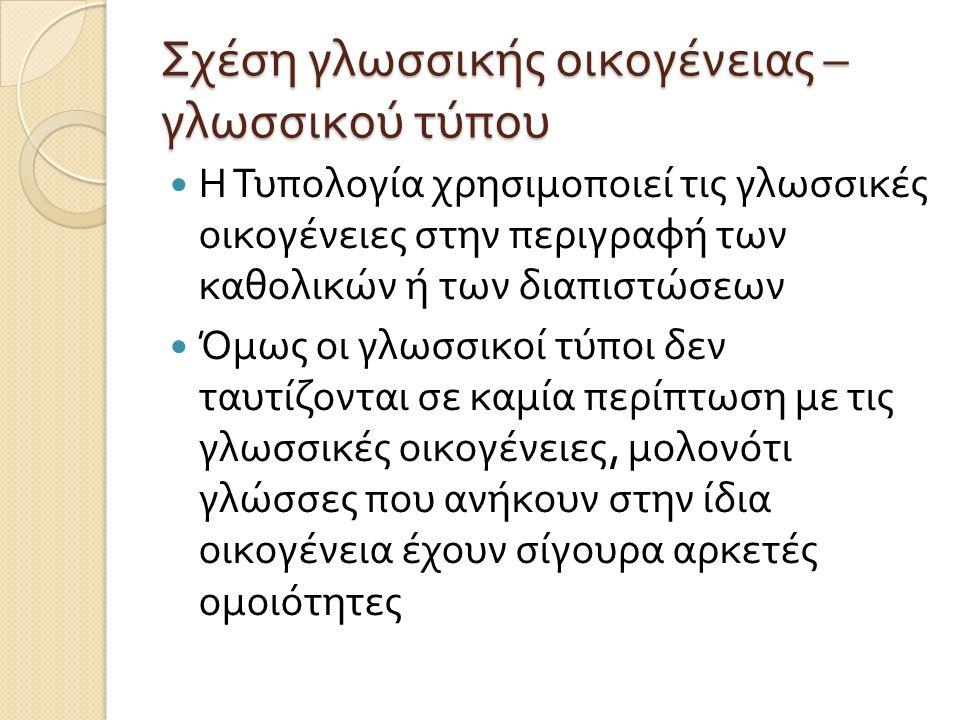 Σχέση γλωσσικής οικογένειας – γλωσσικού τύπου Η Τυπολογία χρησιμοποιεί τις γλωσσικές οικογένειες στην περιγραφή των καθολικών ή των διαπιστώσεων Όμως οι γλωσσικοί τύποι δεν ταυτίζονται σε καμία περίπτωση με τις γλωσσικές οικογένειες, μολονότι γλώσσες που ανήκουν στην ίδια οικογένεια έχουν σίγουρα αρκετές ομοιότητες