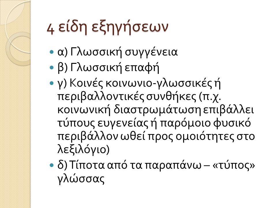 4 είδη εξηγήσεων α ) Γλωσσική συγγένεια β ) Γλωσσική επαφή γ ) Κοινές κοινωνιο - γλωσσικές ή περιβαλλοντικές συνθήκες ( π.