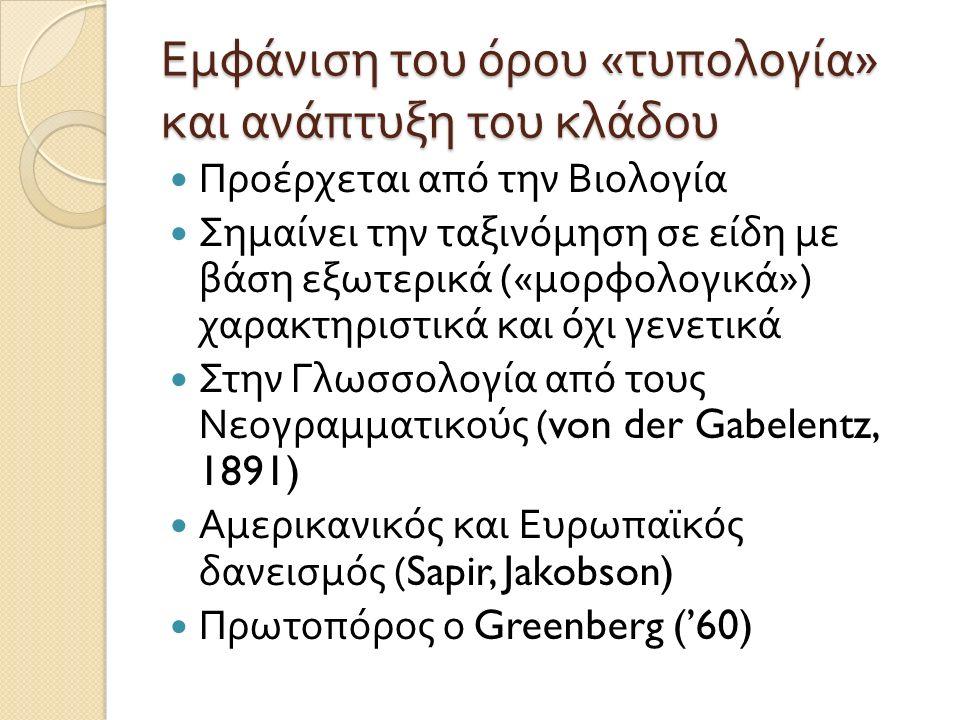 Εμφάνιση του όρου « τυπολογία » και ανάπτυξη του κλάδου Προέρχεται από την Βιολογία Σημαίνει την ταξινόμηση σε είδη με βάση εξωτερικά (« μορφολογικά ») χαρακτηριστικά και όχι γενετικά Στην Γλωσσολογία από τους Νεογραμματικούς (von der Gabelentz, 1891) Αμερικανικός και Ευρωπαϊκός δανεισμός (Sapir, Jakobson) Πρωτοπόρος ο Greenberg ('60)