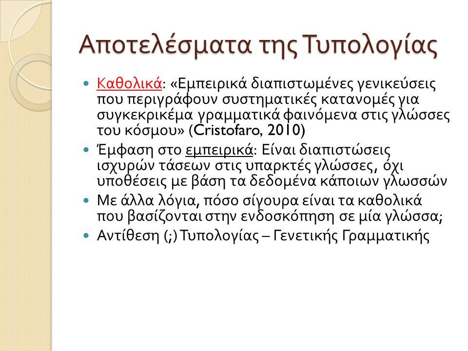 Αποτελέσματα της Τυπολογίας Καθολικά : « Εμπειρικά διαπιστωμένες γενικεύσεις που περιγράφουν συστηματικές κατανομές για συγκεκρικέμα γραμματικά φαινόμενα στις γλώσσες του κόσμου » (Cristofaro, 2010) Έμφαση στο εμπειρικά : Είναι διαπιστώσεις ισχυρών τάσεων στις υπαρκτές γλώσσες, όχι υποθέσεις με βάση τα δεδομένα κάποιων γλωσσών Με άλλα λόγια, πόσο σίγουρα είναι τα καθολικά που βασίζονται στην ενδοσκόπηση σε μία γλώσσα ; Αντίθεση (;) Τυπολογίας – Γενετικής Γραμματικής