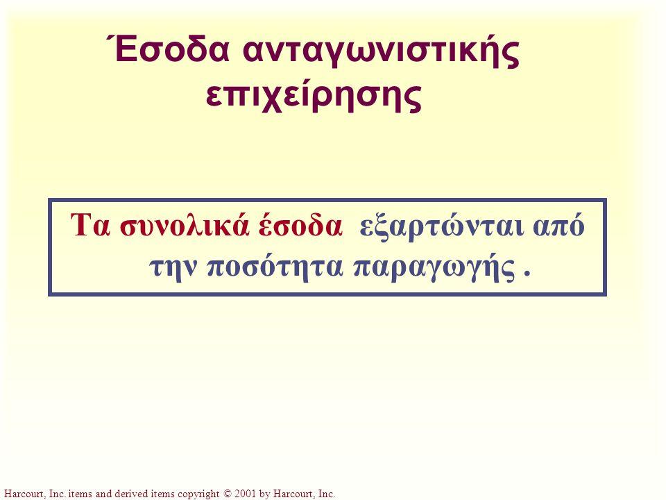 Harcourt, Inc. items and derived items copyright © 2001 by Harcourt, Inc. Έσοδα ανταγωνιστικής επιχείρησης Τα συνολικά έσοδα εξαρτώνται από την ποσότη