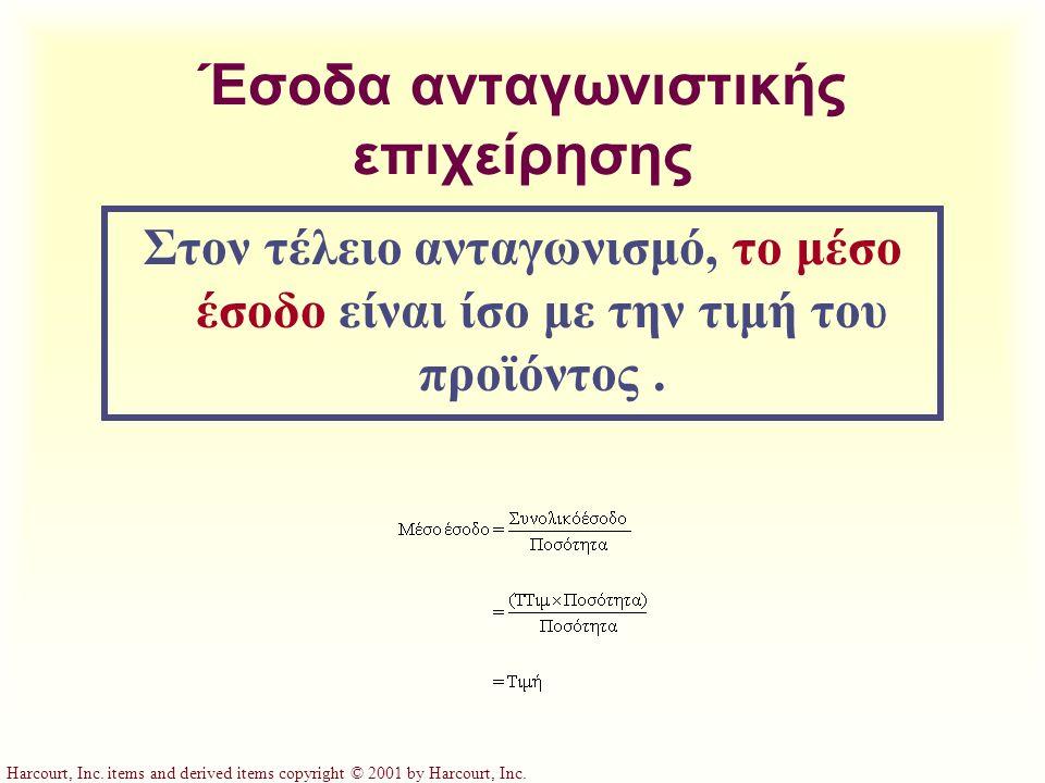 Harcourt, Inc. items and derived items copyright © 2001 by Harcourt, Inc. Έσοδα ανταγωνιστικής επιχείρησης Στον τέλειο ανταγωνισμό, το μέσο έσοδο είνα