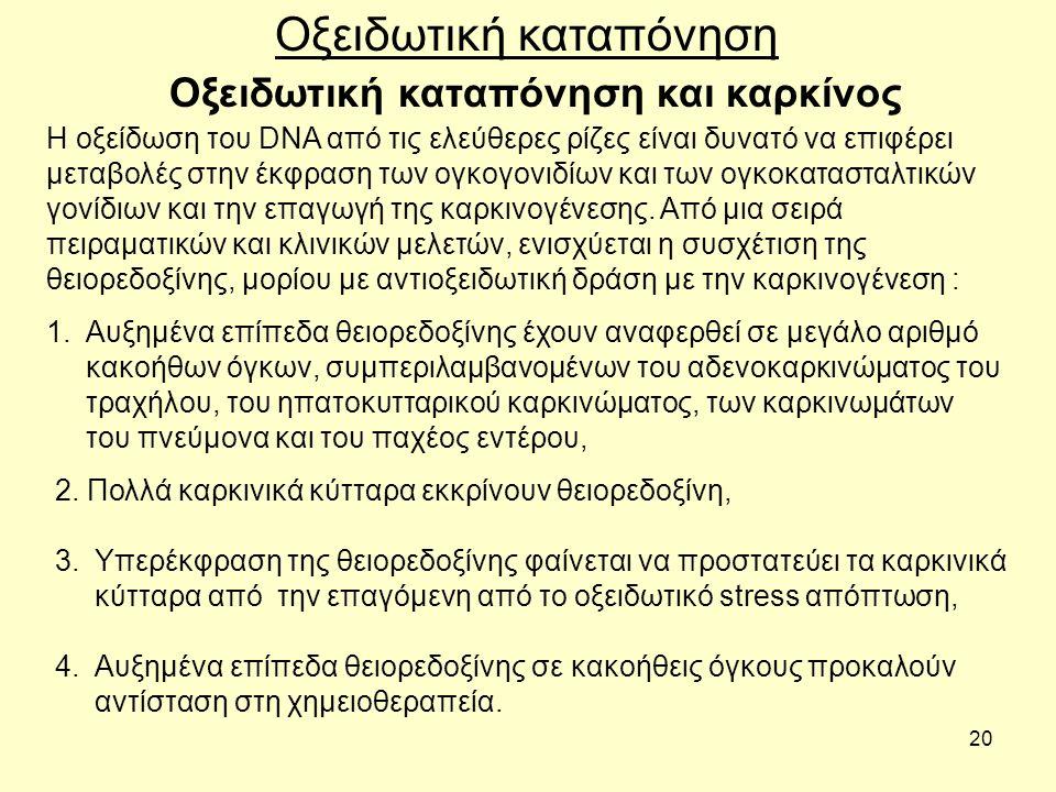 20 Οξειδωτική καταπόνηση και καρκίνος Οξειδωτική καταπόνηση Η οξείδωση του DNA από τις ελεύθερες ρίζες είναι δυνατό να επιφέρει μεταβολές στην έκφραση