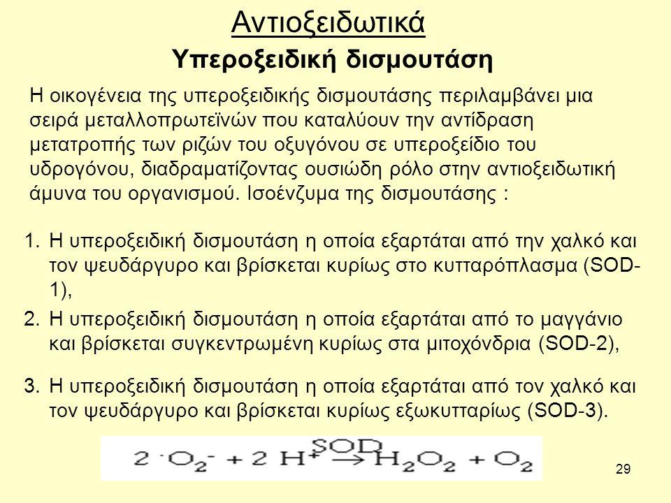 29 Υπεροξειδική δισμουτάση Αντιοξειδωτικά Η οικογένεια της υπεροξειδικής δισμουτάσης περιλαμβάνει μια σειρά μεταλλοπρωτεϊνών που καταλύουν την αντίδρα