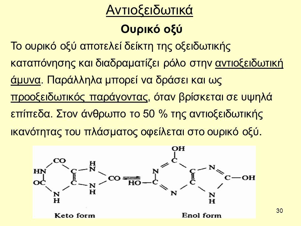 30 Ουρικό οξύ Αντιοξειδωτικά Το ουρικό οξύ αποτελεί δείκτη της οξειδωτικής καταπόνησης και διαδραματίζει ρόλο στην αντιοξειδωτική άμυνα. Παράλληλα μπο