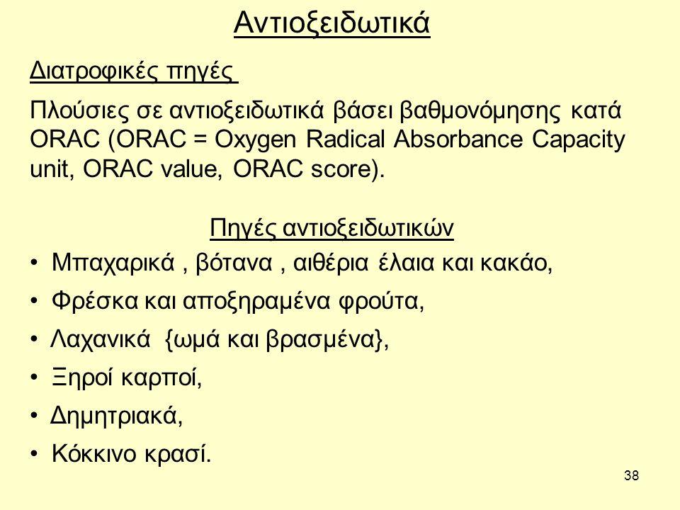 38 Διατροφικές πηγές Αντιοξειδωτικά Πλούσιες σε αντιοξειδωτικά βάσει βαθμονόμησης κατά ORAC (ORAC = Oxygen Radical Absorbance Capacity unit, ORAC valu