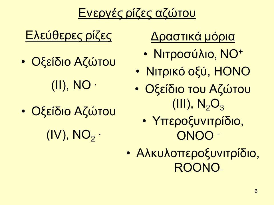 6 Ενεργές ρίζες αζώτου Ελεύθερες ρίζες Οξείδιο Αζώτου (II), NO. Οξείδιο Αζώτου (IV), NO 2. Δραστικά μόρια Νιτροσύλιο, NO + Νιτρικό οξύ, HONO Οξείδιο τ
