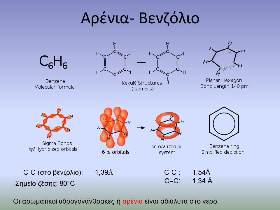 Αρένια- Βενζόλιο C-C (στο βενζόλιο): 1,39 Å C-C : 1,54Å C=C: 1,34 Å Σημείο ζέσης: 80°C Οι αρωματικοί υδρογονάνθρακες ή αρένια είναι αδιάλυτα στο νερό.