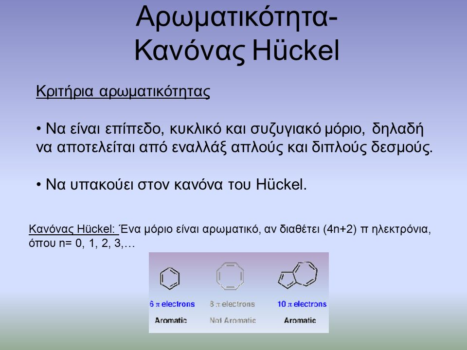 Αρωματικότητα- Κανόνας Hückel Κριτήρια αρωματικότητας Να είναι επίπεδο, κυκλικό και συζυγιακό μόριο, δηλαδή να αποτελείται από εναλλάξ απλούς και διπλούς δεσμούς.