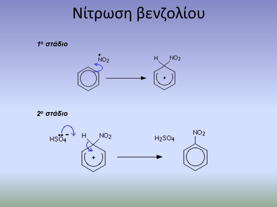 Νίτρωση βενζολίου 1 ο στάδιο 2 ο στάδιο