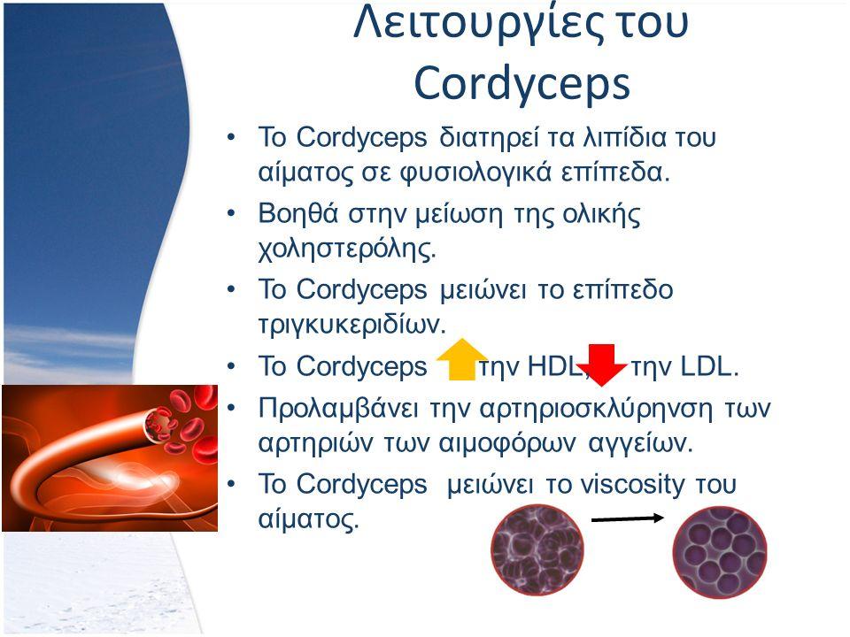 Λειτουργίες του Cordyceps Το Cordyceps διατηρεί τα λιπίδια του αίματος σε φυσιολογικά επίπεδα.