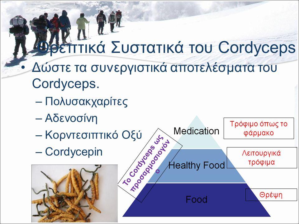 Θρεπτικά Συστατικά του Cordyceps Δώστε τα συνεργιστικά αποτελέσματα του Cordyceps.