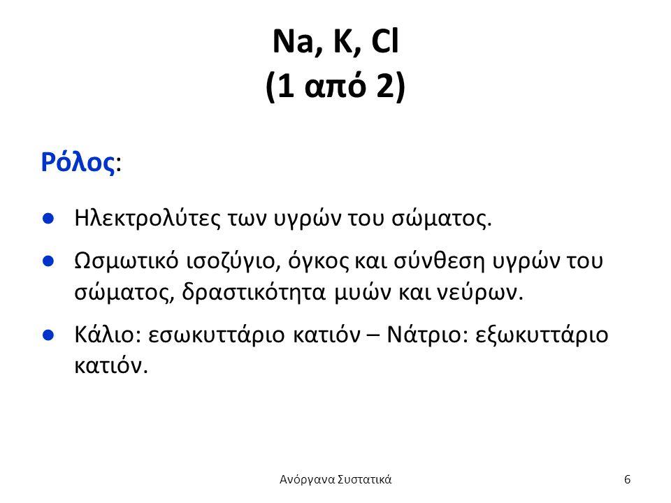 Na, K, Cl (1 από 2) Ρόλος: ●Ηλεκτρολύτες των υγρών του σώματος.