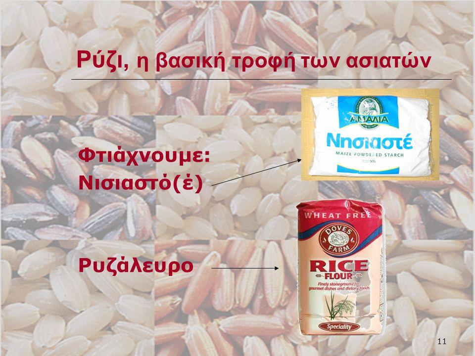 11 Ρύζι, η βασική τροφή των ασιατών Φτιάχνουμε: Νισιαστό(έ) Ρυζάλευρο