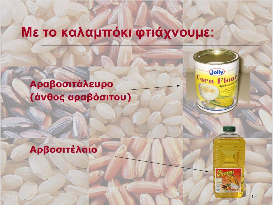 12 Με το καλαμπόκι φτιάχνουμε: Αραβοσιτάλευρο (άνθος αραβόσιτου) Αρβοσιτέλαιο