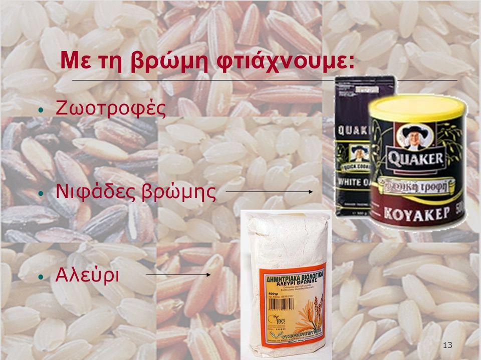 13 Με τη βρώμη φτιάχνουμε: Ζωοτροφές Νιφάδες βρώμης Αλεύρι