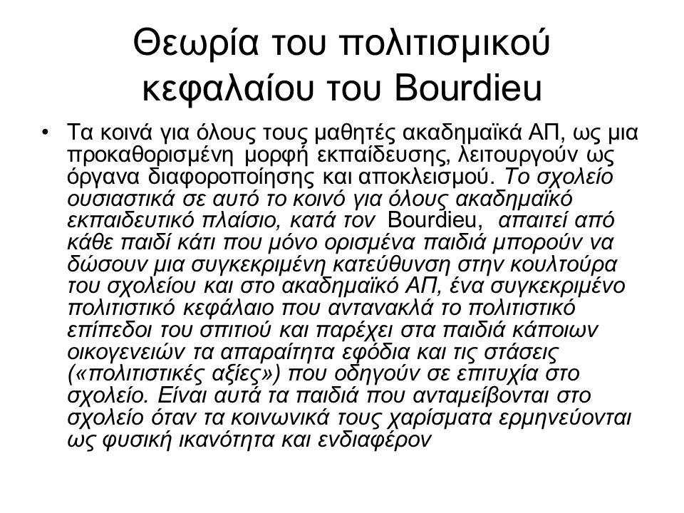 Θεωρία του πολιτισμικού κεφαλαίου του Bourdieu Τα κοινά για όλους τους μαθητές ακαδημαϊκά ΑΠ, ως μια προκαθορισμένη μορφή εκπαίδευσης, λειτουργούν ως όργανα διαφοροποίησης και αποκλεισμού.