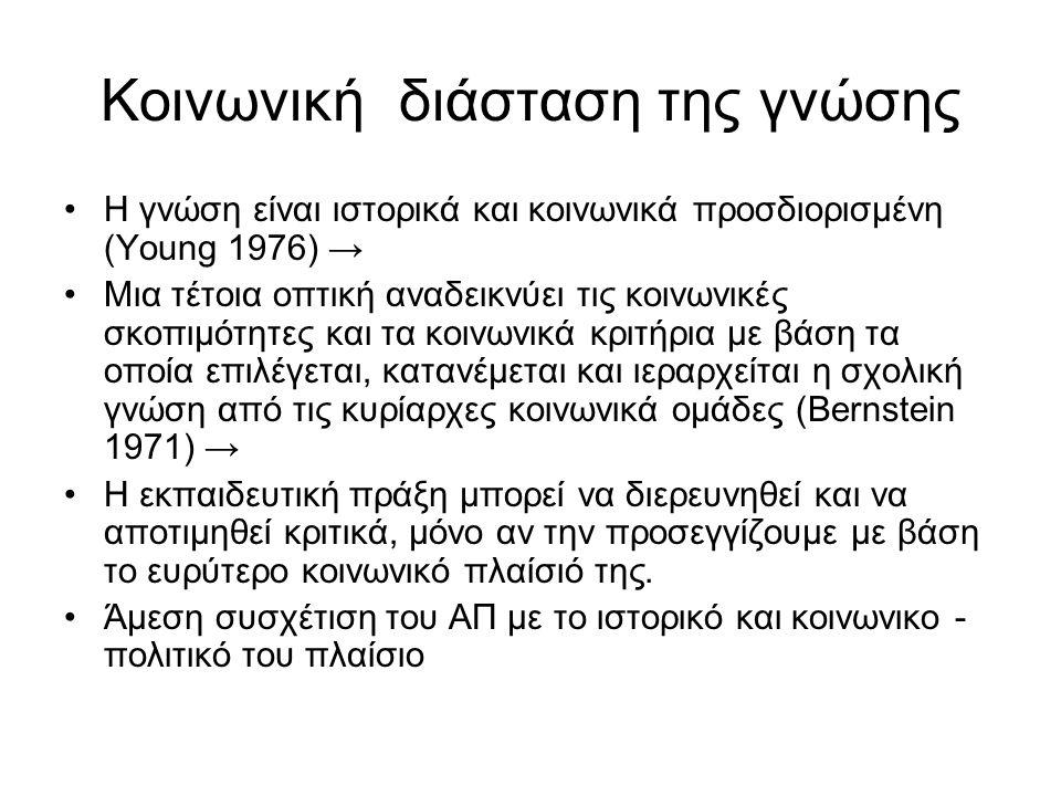 Κοινωνική διάσταση της γνώσης Η γνώση είναι ιστορικά και κοινωνικά προσδιορισμένη (Young 1976) → Μια τέτοια οπτική αναδεικνύει τις κοινωνικές σκοπιμότητες και τα κοινωνικά κριτήρια με βάση τα οποία επιλέγεται, κατανέμεται και ιεραρχείται η σχολική γνώση από τις κυρίαρχες κοινωνικά ομάδες (Bernstein 1971) → Η εκπαιδευτική πράξη μπορεί να διερευνηθεί και να αποτιμηθεί κριτικά, μόνο αν την προσεγγίζουμε με βάση το ευρύτερο κοινωνικό πλαίσιό της.