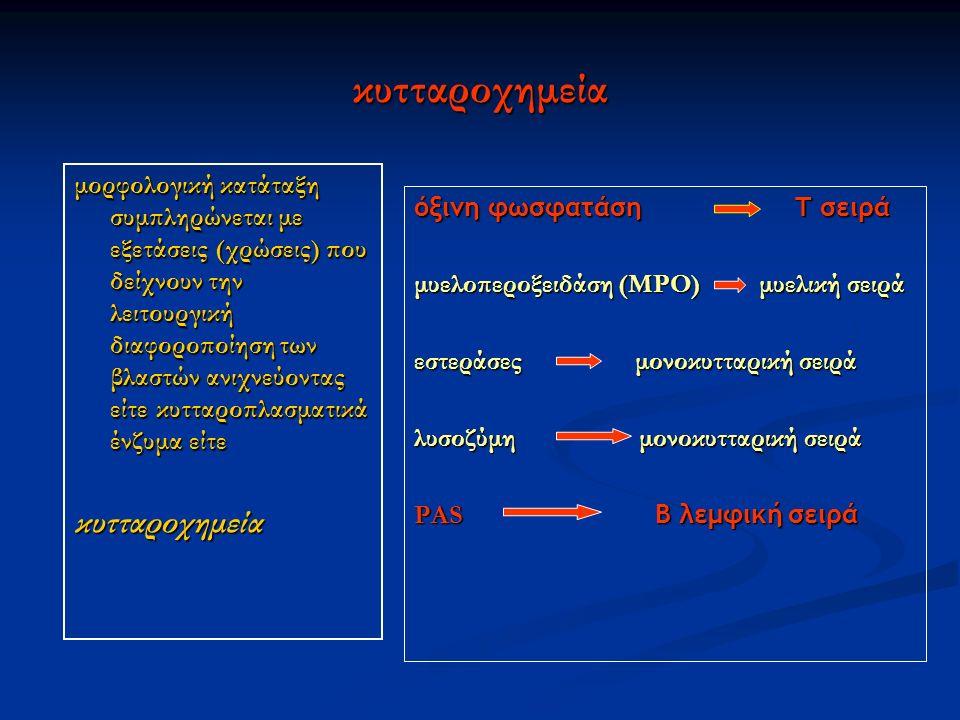 κυτταροχημεία μορφολογική κατάταξη συμπληρώνεται με εξετάσεις (χρώσεις) που δείχνουν την λειτουργική διαφοροποίηση των βλαστών ανιχνεύοντας είτε κυτταροπλασματικά ένζυμα είτε κυτταροχημεία όξινη φωσφατάση Τ σειρά μυελοπεροξειδάση (ΜΡΟ) μυελική σειρά εστεράσες μονοκυτταρική σειρά λυσοζύμη μονοκυτταρική σειρά PAS B λεμφική σειρά